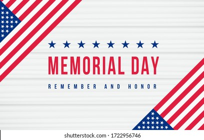 Memorial Day, Remember and Honor Poster. American national holiday. Retro american invitation template with red memorial day and us flag on white wooden backdrop for banner design. Vector illustration
