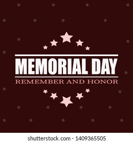 Memorial Day. Remember and honor. Vector illustration, card, banner. Red background with stars