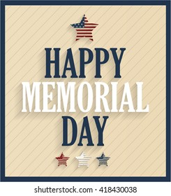 Memorial Day retro poster with star. Vector illustration.