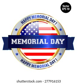 Memorial Day Ribbon and Button Isolated White Background. Vector Illustration