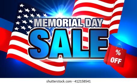 Memorial Day. Sale Banner. American Flag.