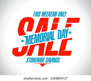 Memorial day sale banner, storewide savings advertising poster