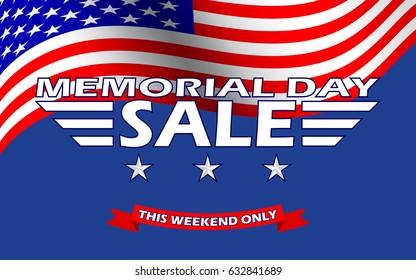 Memorial Day Sale banner template design. Memorial Day Sale background. Vector illustration.