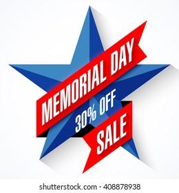 Memorial Day Sale banner vector illustration