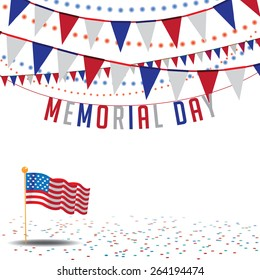 Memorial Day Sale bunting background EPS 10 vector royalty free stock illustration for greeting card, ad, promotion, poster, flier, blog, article, ad, marketing, retail shop, brochure, signage
