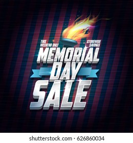 Memorial day sale design, storewide savings this weekend. Business vector poster