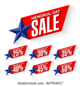 Memorial Day Sale discount labels vector illustration