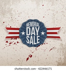 Memorial Day Sale Emblem with Ribbon and Shadow