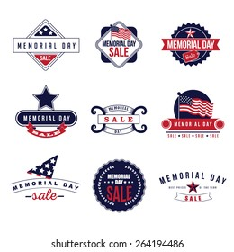Memorial Day Sale icons EPS 10 vector royalty free stock illustration for greeting card, ad, promotion, poster, flier, blog, article, ad, marketing, retail shop, brochure, signage