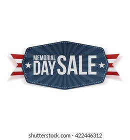 Memorial Day Sale Label with Ribbon and Shadow
