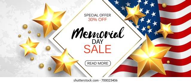 Memorial day sale promotion advertising horizontal banner template. Vector illustration.