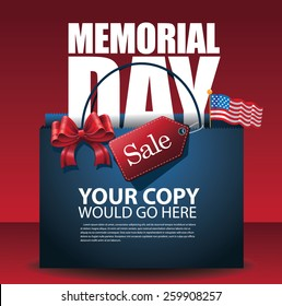 Memorial Day Sale shopping bag Background EPS 10 vector royalty free stock illustration for greeting card, ad, promotion, poster, flier, blog, article, social media, marketing
