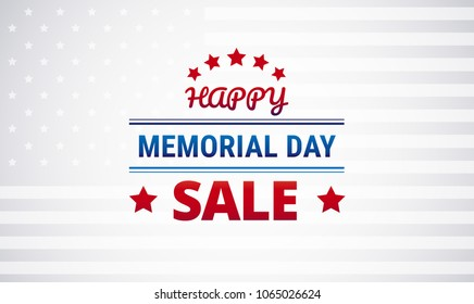 Memorial Day Sale vector background - blue, white, red color