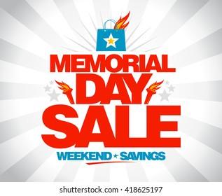 Memorial day sale weekend savings vector poster.