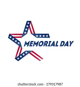 Memorial Day star made of ribbon in national flag colors and symbols. Vector illustration.
