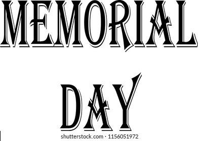 memorial day text sign illustration on white background