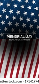 memorial day in the united states - remember and honor banner background vector illustration