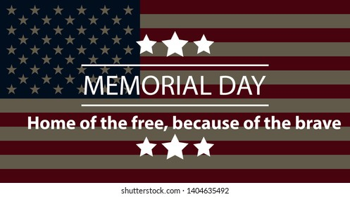 Memorial Day USA Greeting Card, Banner, Wallpaper. Flat Design.