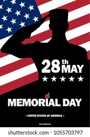 Memorial Day USA. May 28, 2018. Remember and honor. illustration. The soldier salutes. Silhouette of a military man.