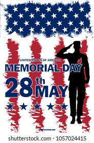 Memorial Day USA. May 28. Remember and honor. illustration. The soldier salutes. Silhouette of a military man.