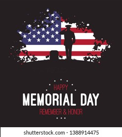 Memorial day. Vector banner with american flag and with saluting soldier. Remember & honor.Grunge flag of USA