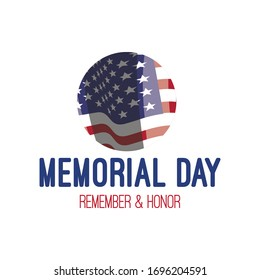 Memorial day. Vector banner with american flag. Remember & honor. USA patriotic illustration