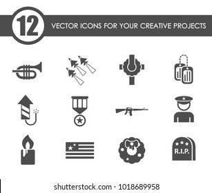 memorial day vector icons for your creative ideas