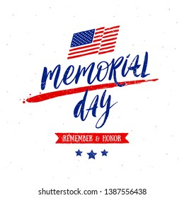 Memorial day vector illustration with handwritten lettering.  Design for poster, greeting card, banners or t-shirt print.