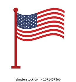 memorial day waving flag in pole american celebration vector illustration flat style icon