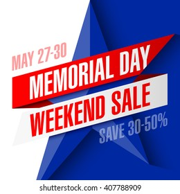 Memorial Day Weekend Sale banner vector illustration