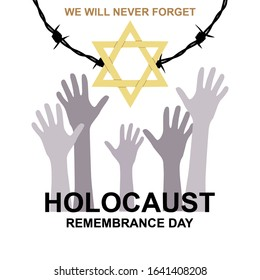 Memorial day. Yellow Star of David, International Day of Fascist Concentration Camps and Ghetto Prisoners Liberation card, Holocaust barbed wire and victims hands silhouettes.