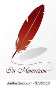 In memoriam card with red feather