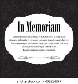 In memoriam, condolences icon over dark floral color background