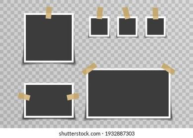 Memory album empty photo picture frame tapes card vector illustration