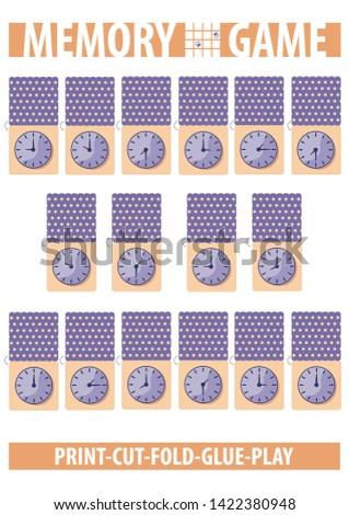 image regarding Printable Memory Cards referred to as Memory Card Recreation Clock Faces Printable Inventory Vector (Royalty