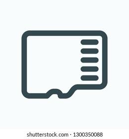 Memory card outline icon, micro SD memory card vector icon