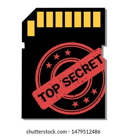 Memory card with top secret and private information. Secrecy, privacy and data storage. Vector illustration isolated on white.