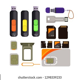 Memory cards icons set. Simple icons on white background. Transcend, port, card. Computer and mobile device concept. Vector illustration can be used for topics like