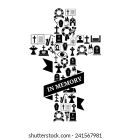 In Memory Concept - Black and White Funeral Cross Icon Graphic Design with Text on White Background.