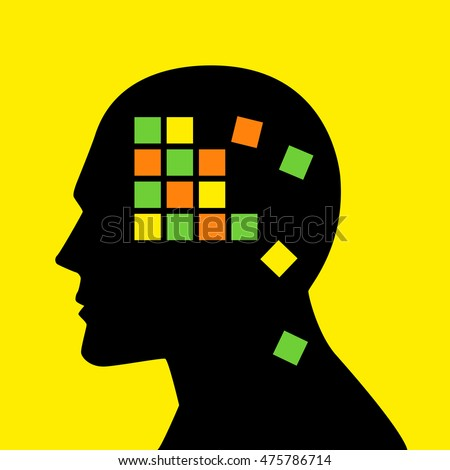 Memory concept graphic, boxes falling apart analogy for memory loss or alzheimer's disease
