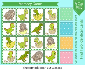 Memory game with cute set cartoon dinosaurs. Children board game. Cut and fold and glued cards. Find two identical picture characters. Kids activity page for book. Vector illustration.
