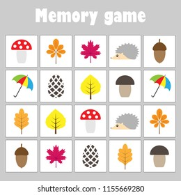Memory game with pictures (autumn theme) for children, fun education game for kids, preschool activity, task for the development of logical thinking, vector illustration