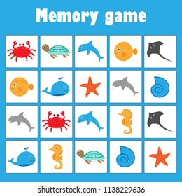 Memory game with pictures (ocean animals) for children, fun education game for kids, preschool activity, task for the development of logical thinking, vector illustration