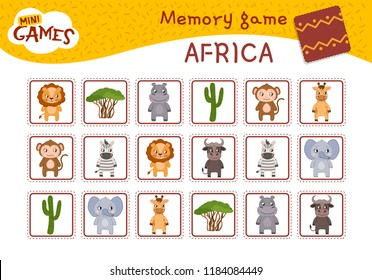 Memory game for preschool children, vector cards with african animals and plants. Find two identical picture. Kids activity page for book.