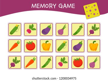 Memory game for preschool children, vector cards with  cartoon vegetables. Find two identical picture. Kids activity page for book.