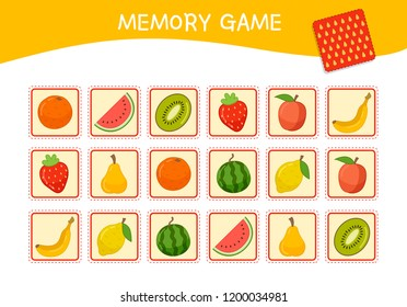 Memory game for preschool children, vector cards with  cartoon fruits. Find two identical picture. Kids activity page for book.