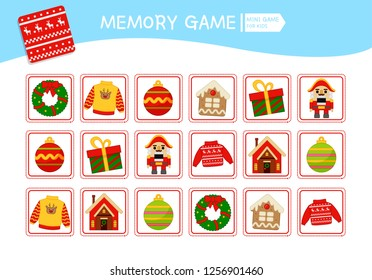 Memory game for preschool children, vector cards with christmas objects. Find two identical picture. Kids activity page for book.
