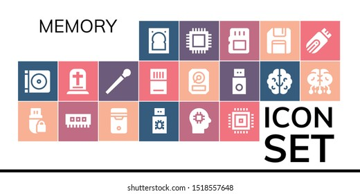 memory icon set. 19 filled memory icons.  Simple modern icons about  - Hard drive, Dvd, Pendrive, Ram, Cpu, Usb, Brain, Gravestone, Stick, Memory card, Hdd, Floppy disk