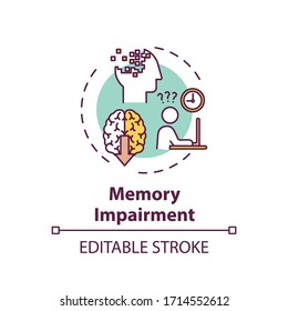 Memory impairment concept icon. Cannabis use adverse side effect idea thin line illustration. Cognitive disorder, thinking process problems. Vector isolated outline RGB color drawing. Editable stroke