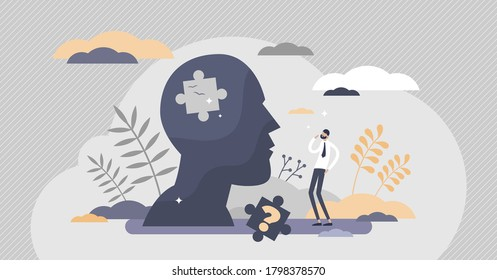 Memory loss brain amnesia problem. Tiny person forgets thoughts concept. Medical issue symbolic scene with missing puzzle piece in head vector illustration. Mental fogginess patient examination.